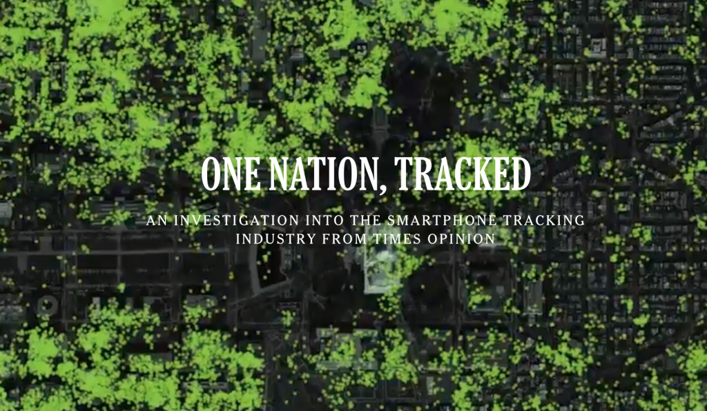 "Title Image from the New York Times article ""One Nation, Tracked"""